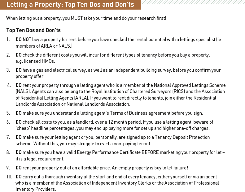 Letting a Property: Top Ten Dos and Don'ts