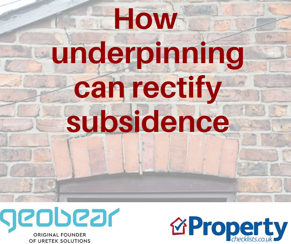 How underpinning can rectify subsidence checklist